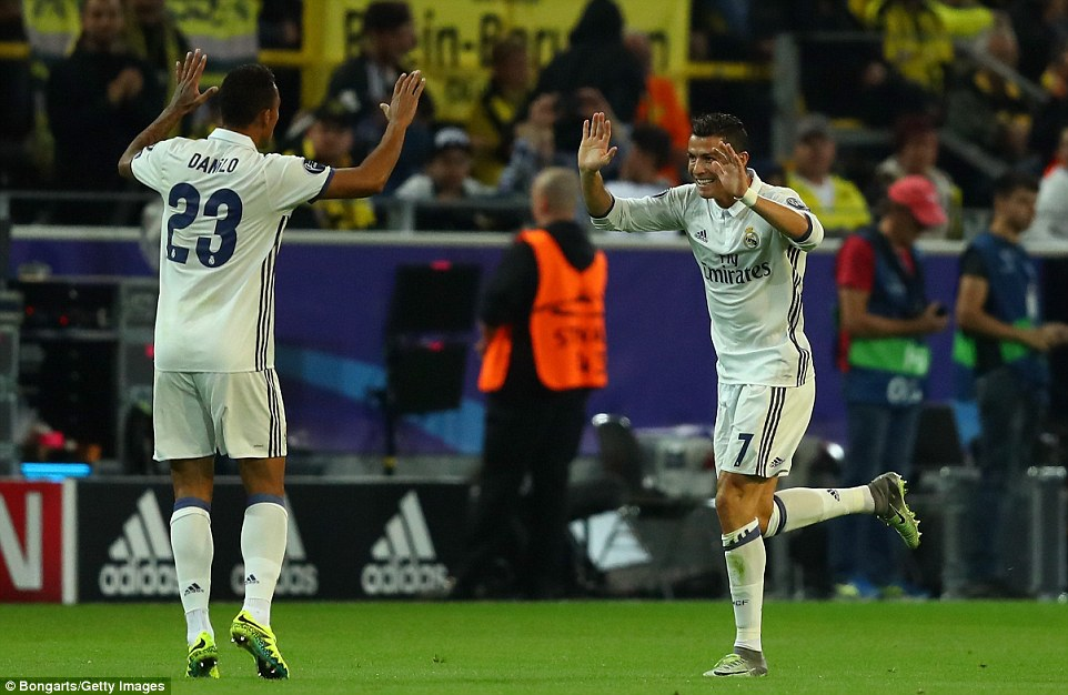 Ronaldo races towards Real team-mate Danilo after he opened the scoring against Thomas Tuchel's outfit in Germnay