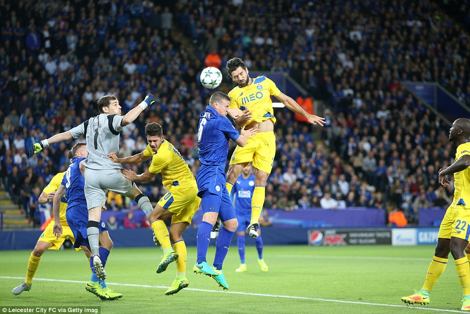 Defender Robert Huth (centre) wasted Leicester's first opportunity to open the scoring by glancing wide