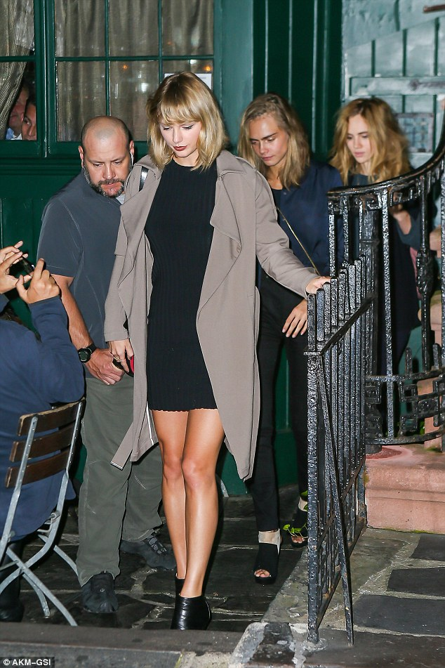 Catching up: Taylor and Cara were joined by British model Suki Waterhouse as they had dinner at The Waverly Inn restaurant