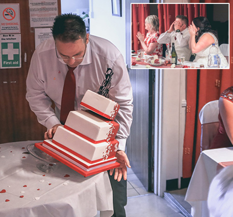 Hilarious moment a prankster dad 'drops' his daughter's wedding cake