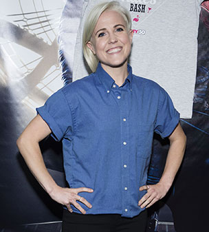 Beautiful in blue: Hannah Hart caught the eye in a casual ensemble as she attends Dirty 30 Screening in New York City