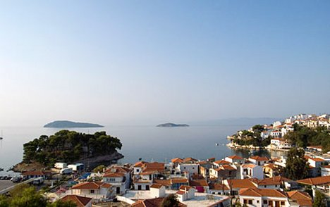 View from St Nikolos Bell Tower, Skiathos