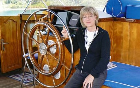 Cruise control: Sarah Lucas at the Andeo's wheel
