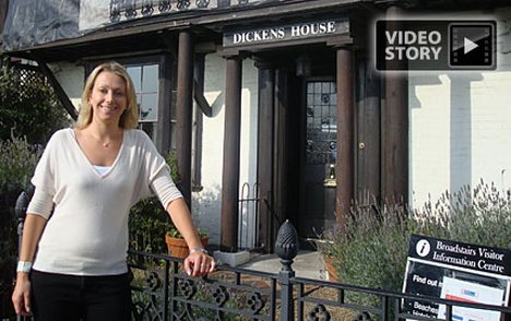 TravelMail Editor Jo Tweedy stands outside Dickens House Museum in Broadstairs