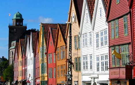 Old colourful houses in Norway