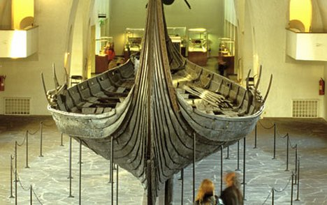 A centuries-old longboat in Oslo's Viking Ships Museum