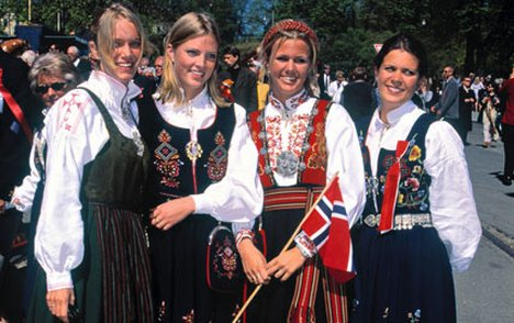 Four Norwegian girls in traditional dress