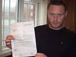 Shocked: Ryan Bishop, 29, with the £33,000 water bill he received after a pipe leak at his rented home in Peacehaven, East Sussex pumped out 21.5 million litres of water