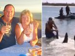 Paul Marshallsea, 62, grabbed its tail in the shallows, having dropped his can of lager and rushed from a beach-side barbecue.