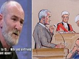 Trial: Mick Philpott stands in the dock today as defence barrister Anthony Orchard QC asks questions while his wife Mairead sobs alongside the other defendant Paul Mosley