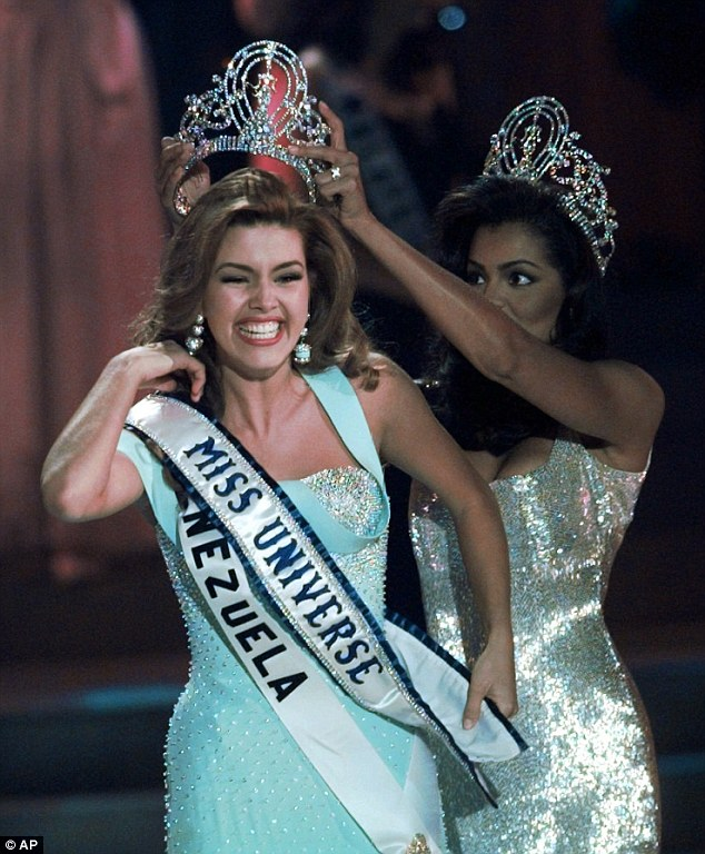 Prestigious title: Alicia Machado was named Miss Universe in 1996 but quickly gained weight and when Donald Trump took over the beauty contest, she was a 'problem', he said Tuesday